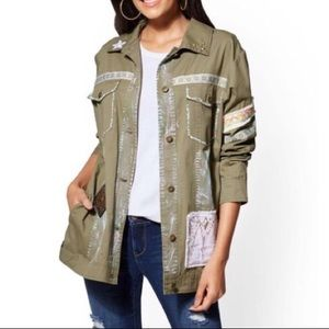 NEW YORK & COMPANY embellished army jacket, boho